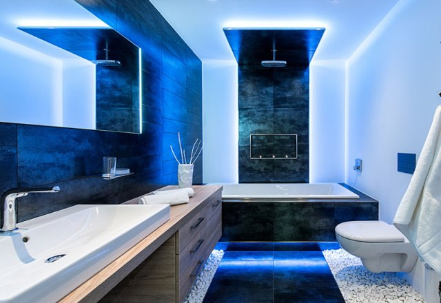 Blue LED light in the bathroom